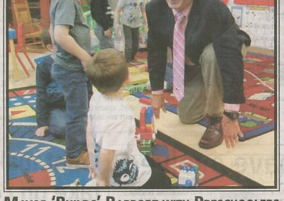 Mayor 'Builds' Rapport with Preschoolers